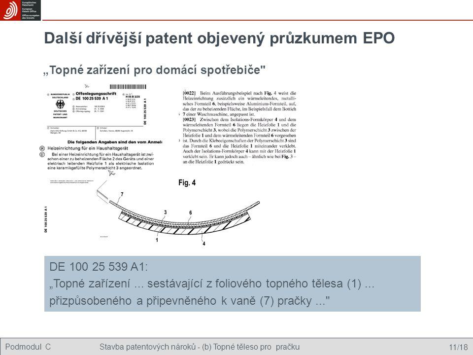 Další dřívější patent objevený průzkumem EPO