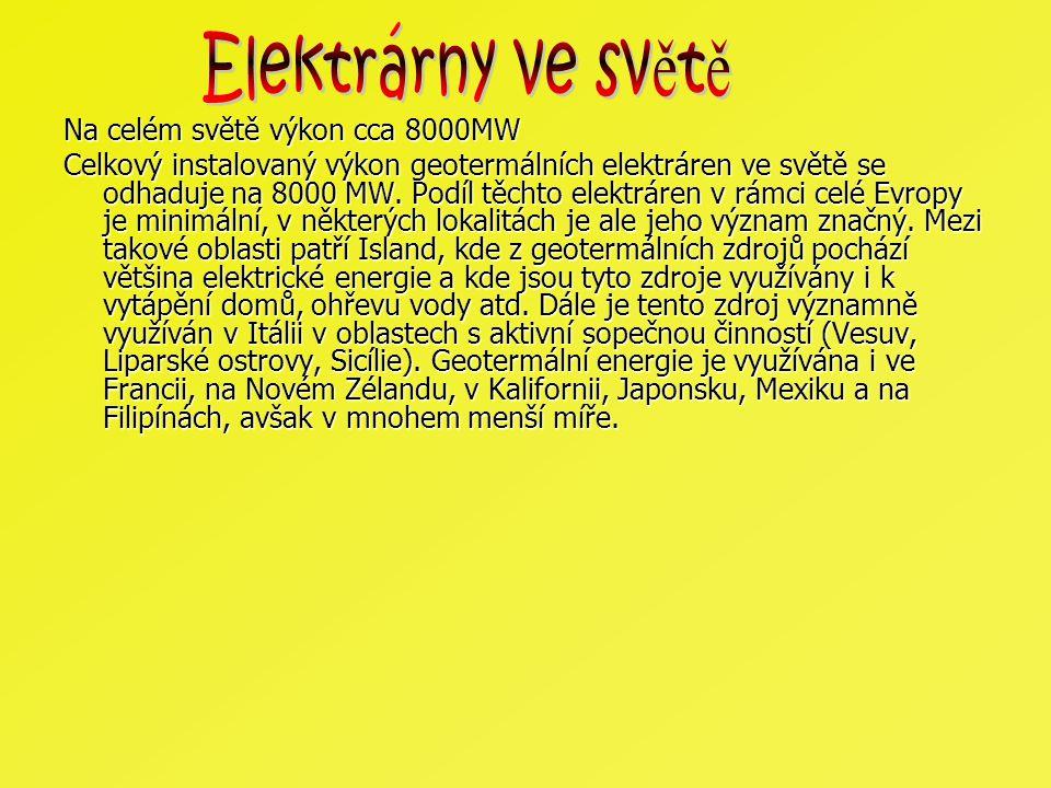 Elektrárny ve světě Na celém světě výkon cca 8000MW
