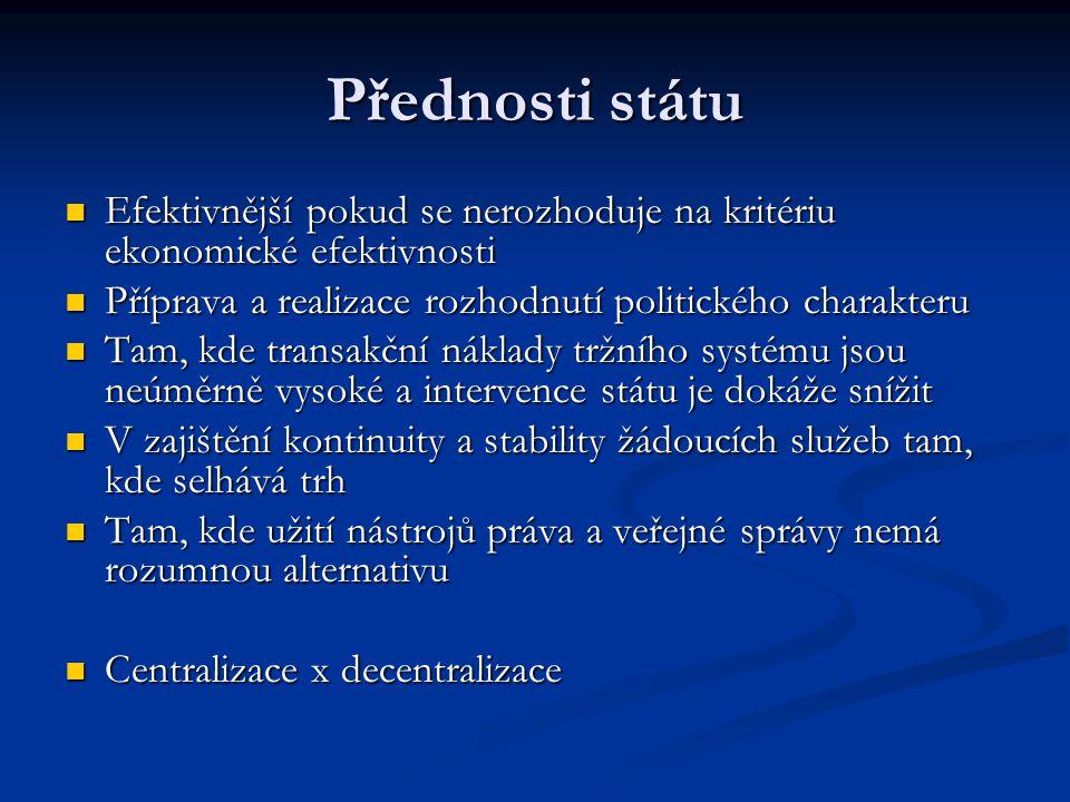 Přednosti státu Efektivnější pokud se nerozhoduje na kritériu ekonomické efektivnosti. Příprava a realizace rozhodnutí politického charakteru.