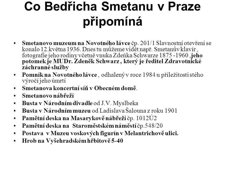 Co Bedřicha Smetanu v Praze připomíná