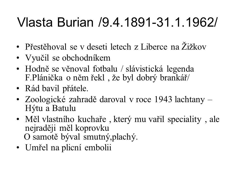 Vlasta Burian /9.4.1891-31.1.1962/ Přestěhoval se v deseti letech z Liberce na Žižkov. Vyučil se obchodníkem.