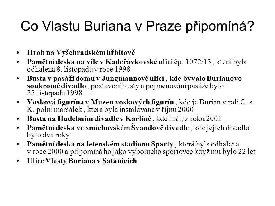 Co Vlastu Buriana v Praze připomíná