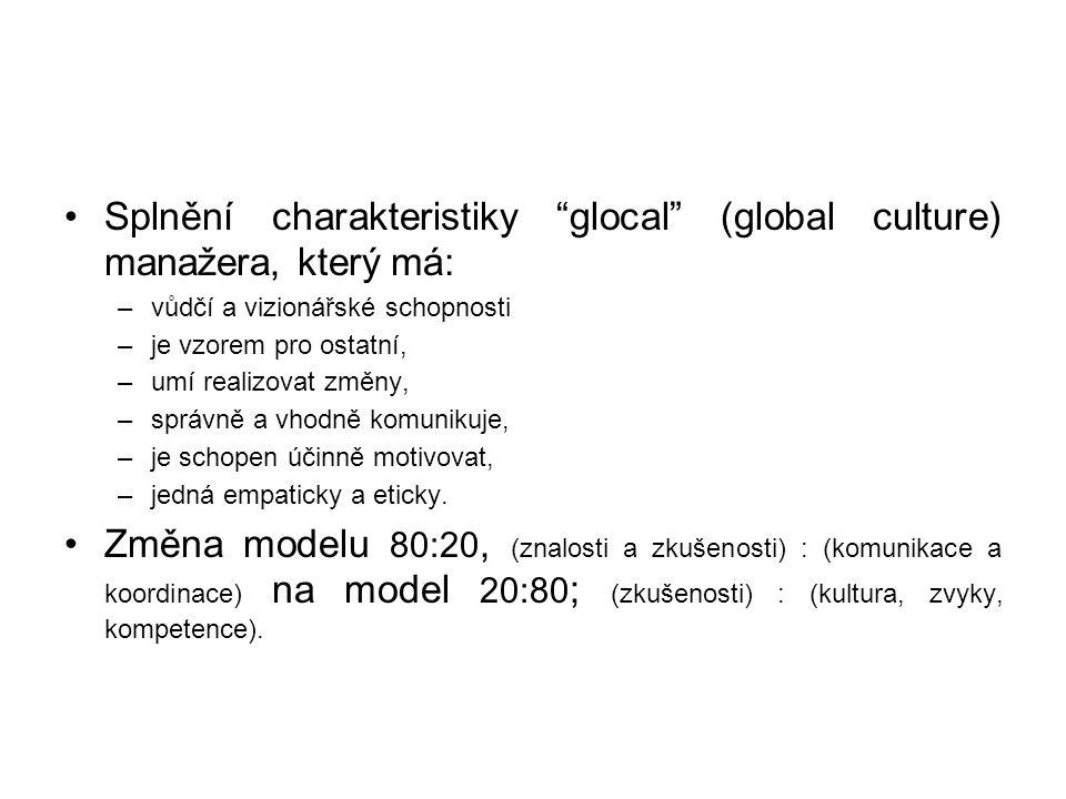 Splnění charakteristiky glocal (global culture) manažera, který má: