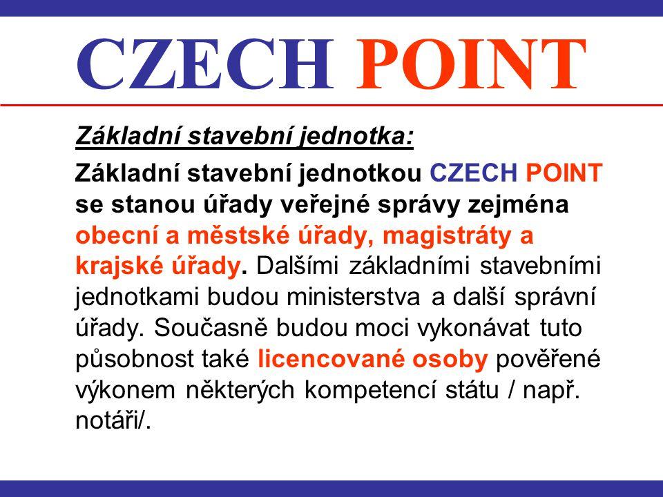 CZECH POINT Základní stavební jednotka:
