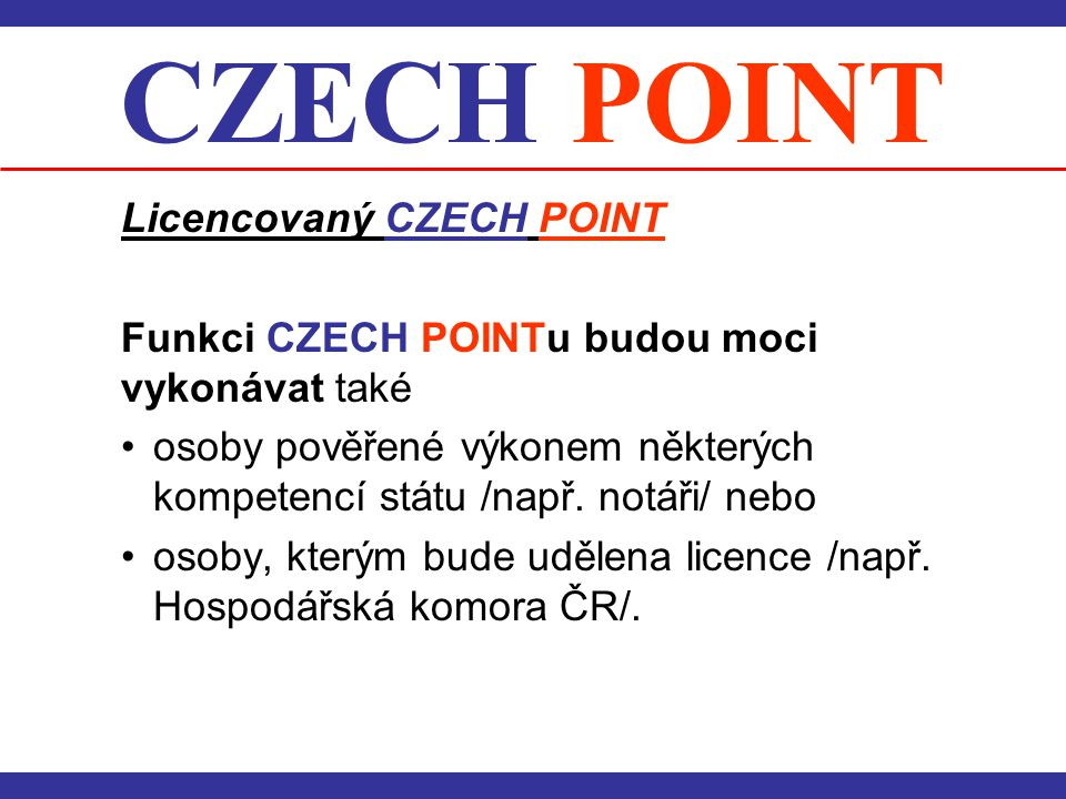 CZECH POINT Licencovaný CZECH POINT