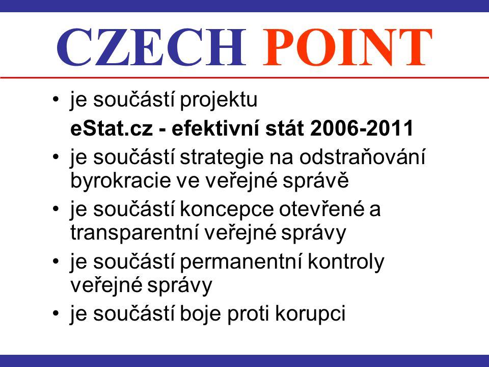CZECH POINT je součástí projektu eStat.cz - efektivní stát 2006-2011