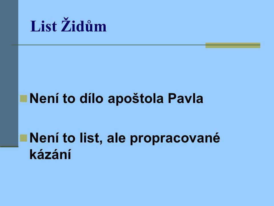 List Židům Není to dílo apoštola Pavla