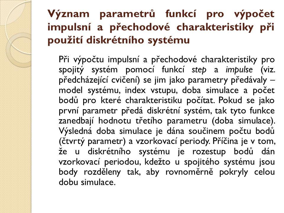 Význam parametrů funkcí pro výpočet impulsní a přechodové charakteristiky při použití diskrétního systému