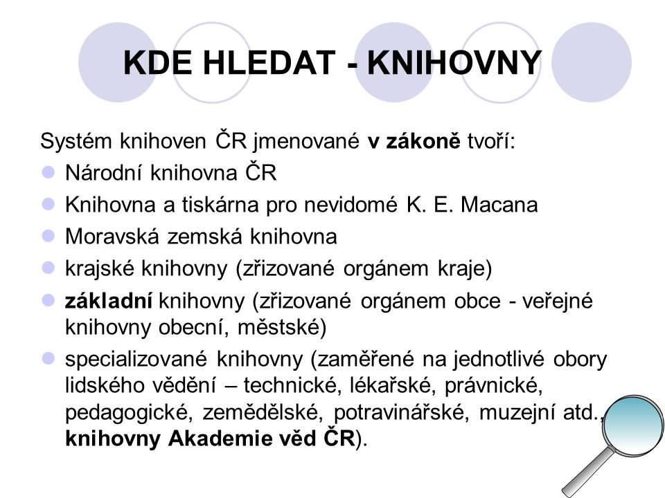 KDE HLEDAT - KNIHOVNY Systém knihoven ČR jmenované v zákoně tvoří: