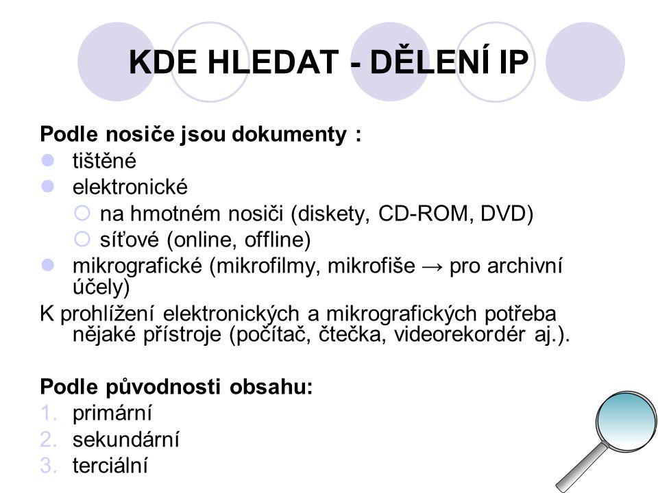 KDE HLEDAT - DĚLENÍ IP Podle nosiče jsou dokumenty : tištěné