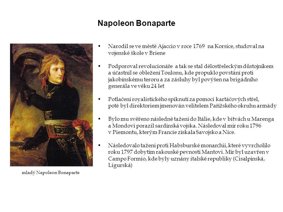 Napoleon Bonaparte Narodil se ve městě Ajaccio v roce 1769 na Korsice, studoval na. vojenské škole v Briene.