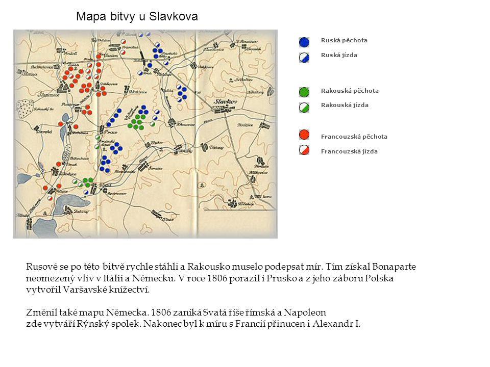 Mapa bitvy u Slavkova Ruská pěchota. Ruská jízda. Rakouská pěchota. Rakouská jízda.