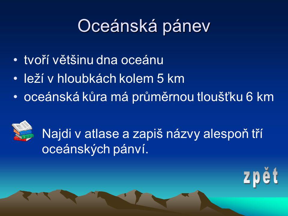 Oceánská pánev zpět tvoří většinu dna oceánu