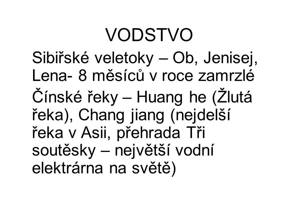 VODSTVO Sibiřské veletoky – Ob, Jenisej, Lena- 8 měsíců v roce zamrzlé