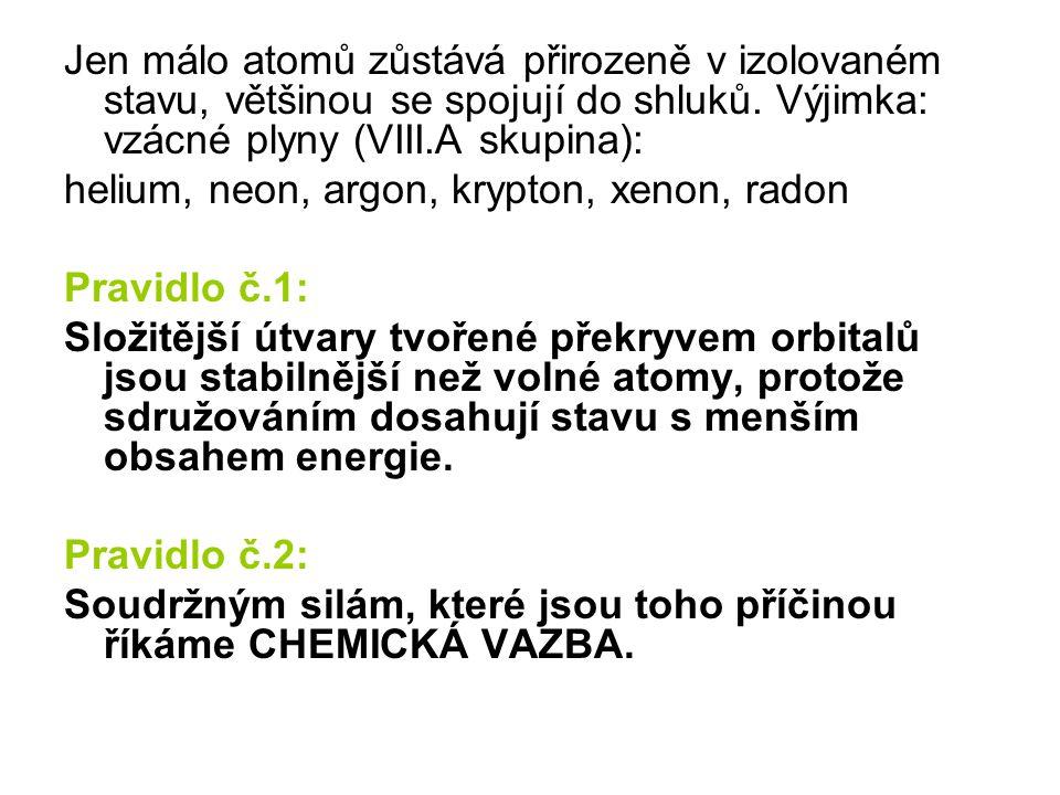 Jen málo atomů zůstává přirozeně v izolovaném stavu, většinou se spojují do shluků. Výjimka: vzácné plyny (VIII.A skupina):