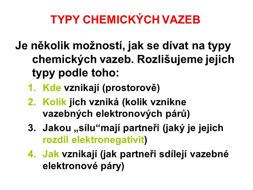 TYPY CHEMICKÝCH VAZEB Je několik možností, jak se dívat na typy chemických vazeb. Rozlišujeme jejich typy podle toho: