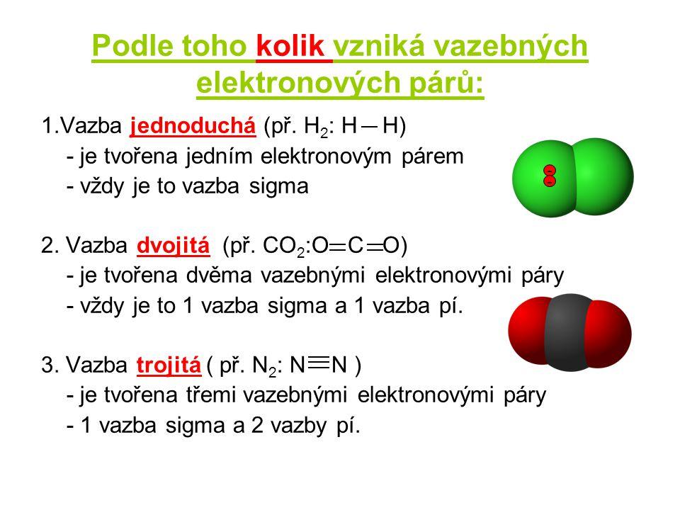 Podle toho kolik vzniká vazebných elektronových párů: