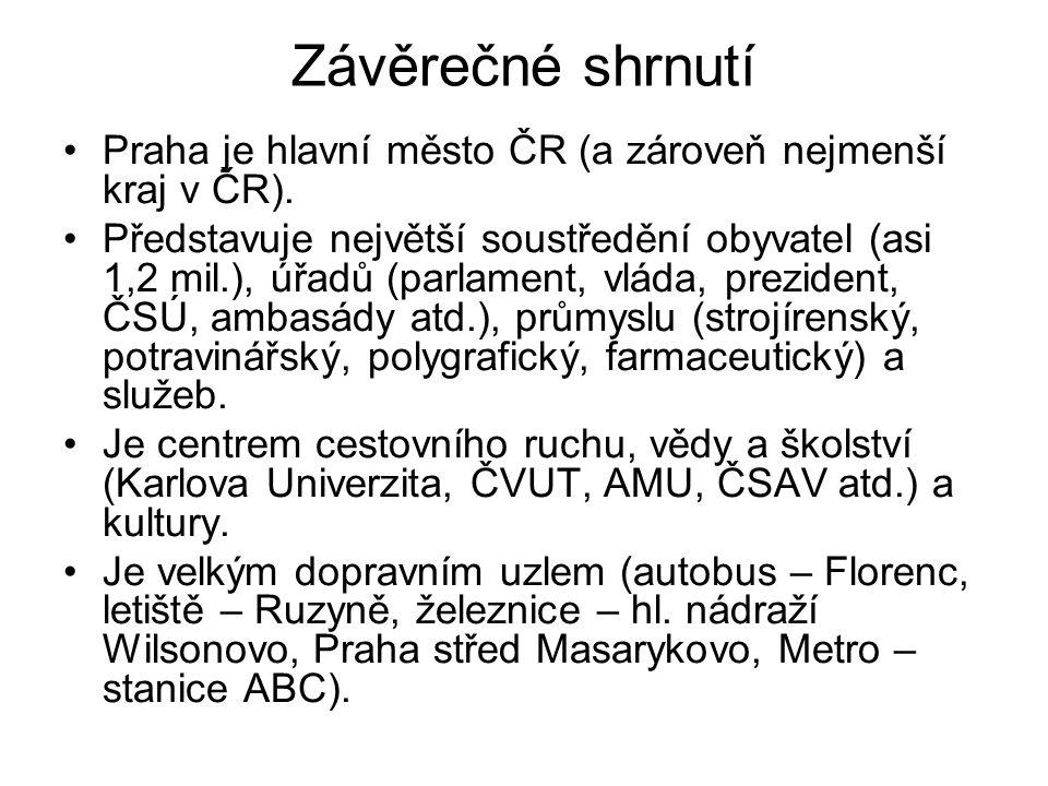 Závěrečné shrnutí Praha je hlavní město ČR (a zároveň nejmenší kraj v ČR).