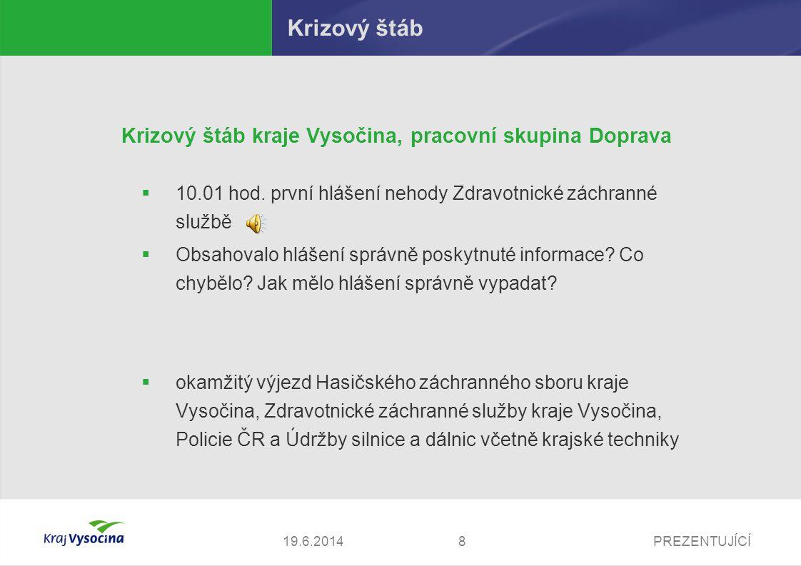 Krizový štáb Krizový štáb kraje Vysočina, pracovní skupina Doprava