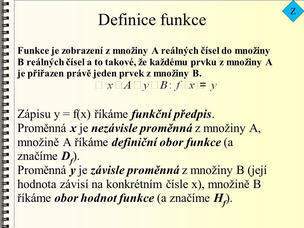 Definice funkce Zápisu y = f(x) říkáme funkční předpis.