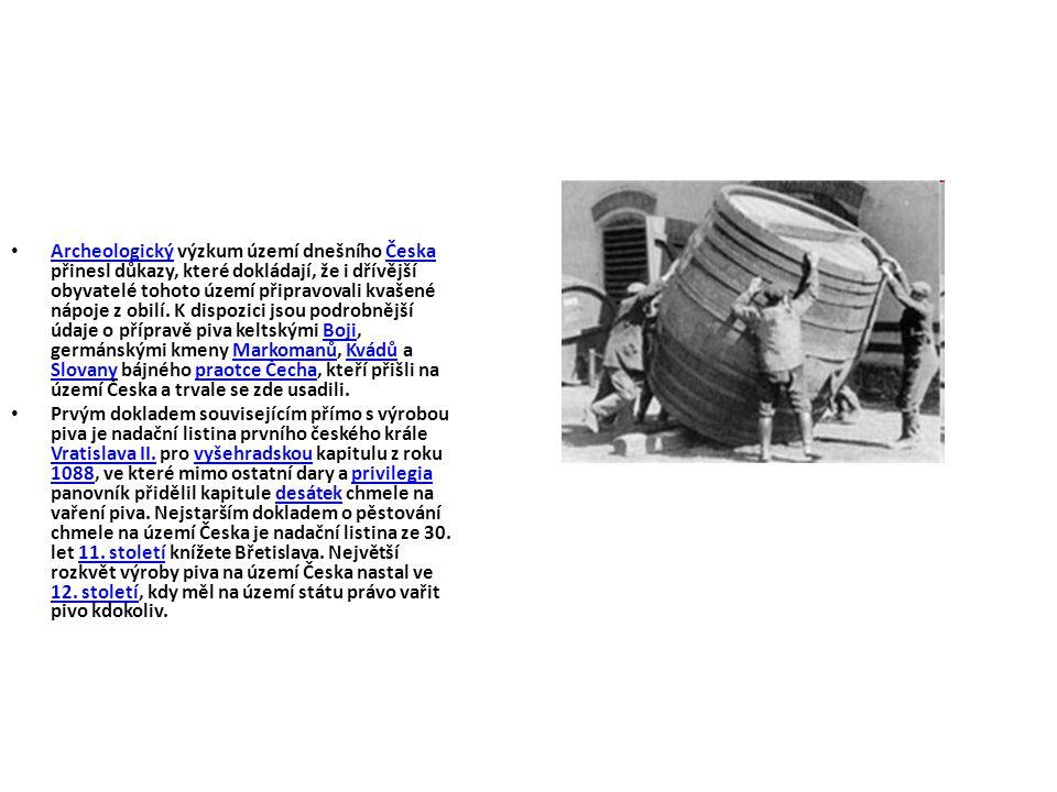 Archeologický výzkum území dnešního Česka přinesl důkazy, které dokládají, že i dřívější obyvatelé tohoto území připravovali kvašené nápoje z obilí. K dispozici jsou podrobnější údaje o přípravě piva keltskými Boji, germánskými kmeny Markomanů, Kvádů a Slovany bájného praotce Čecha, kteří přišli na území Česka a trvale se zde usadili.