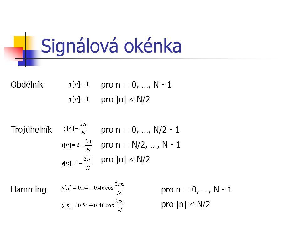 Signálová okénka Obdélník pro n = 0, …, N - 1 pro |n|  N/2