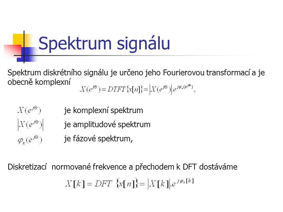 Spektrum signálu Spektrum diskrétního signálu je určeno jeho Fourierovou transformací a je obecně komplexní.