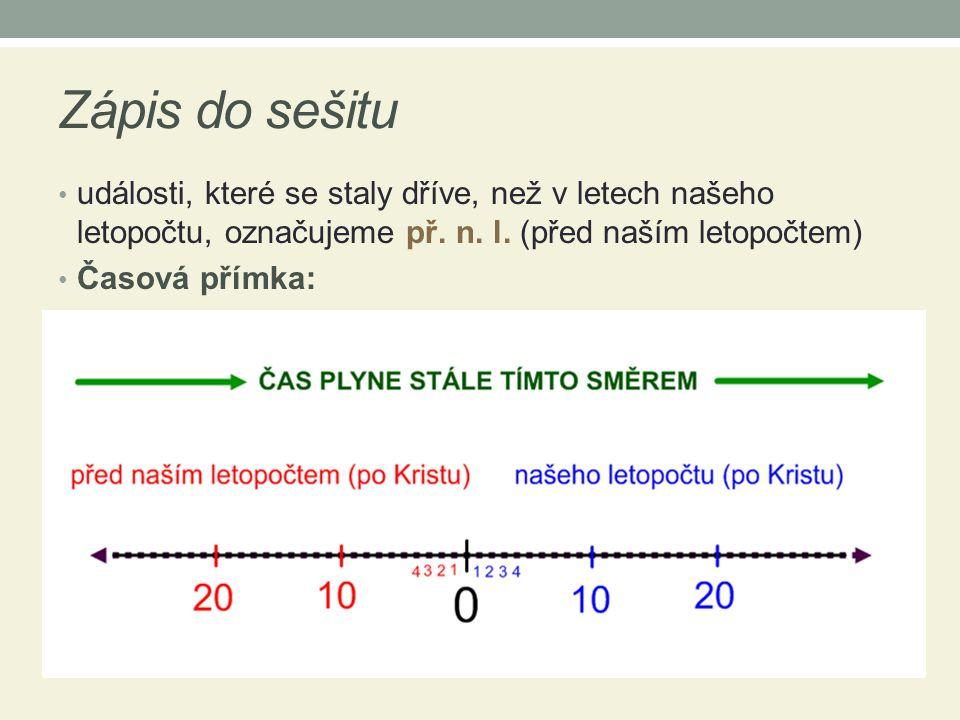Zápis do sešitu události, které se staly dříve, než v letech našeho letopočtu, označujeme př. n. l. (před naším letopočtem)