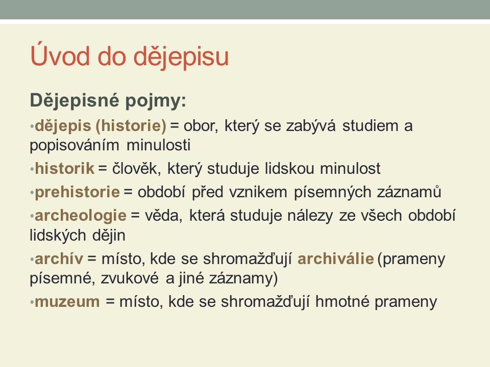 Úvod do dějepisu Dějepisné pojmy: