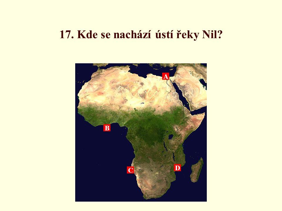 17. Kde se nachází ústí řeky Nil