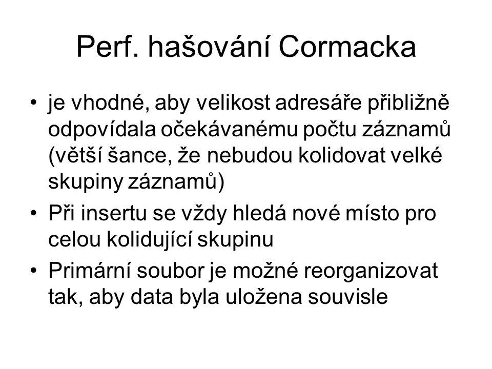 Perf. hašování Cormacka