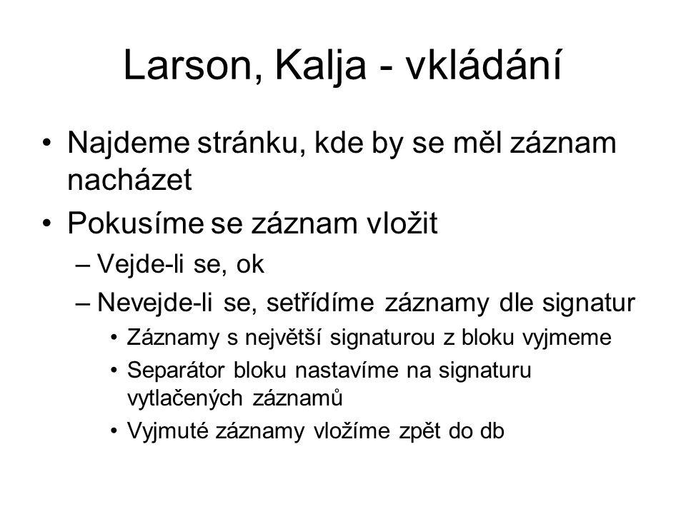 Larson, Kalja - vkládání