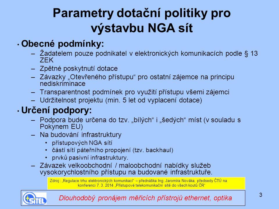 Parametry dotační politiky pro výstavbu NGA sít