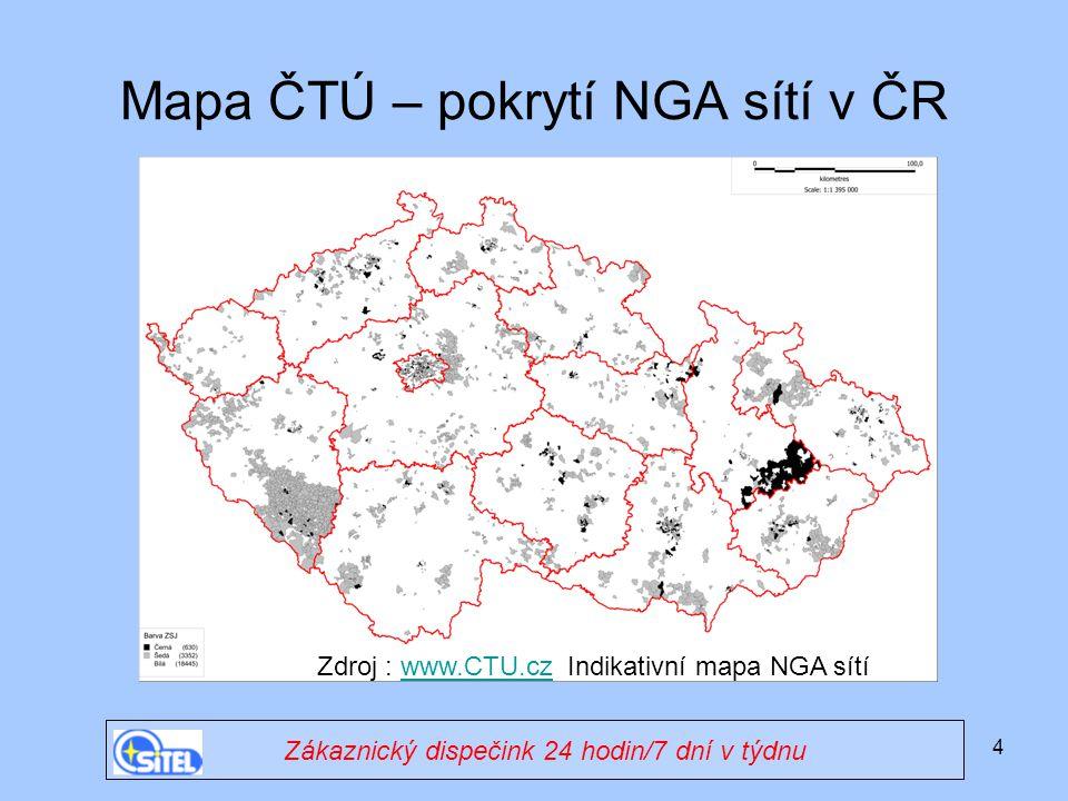 Mapa ČTÚ – pokrytí NGA sítí v ČR
