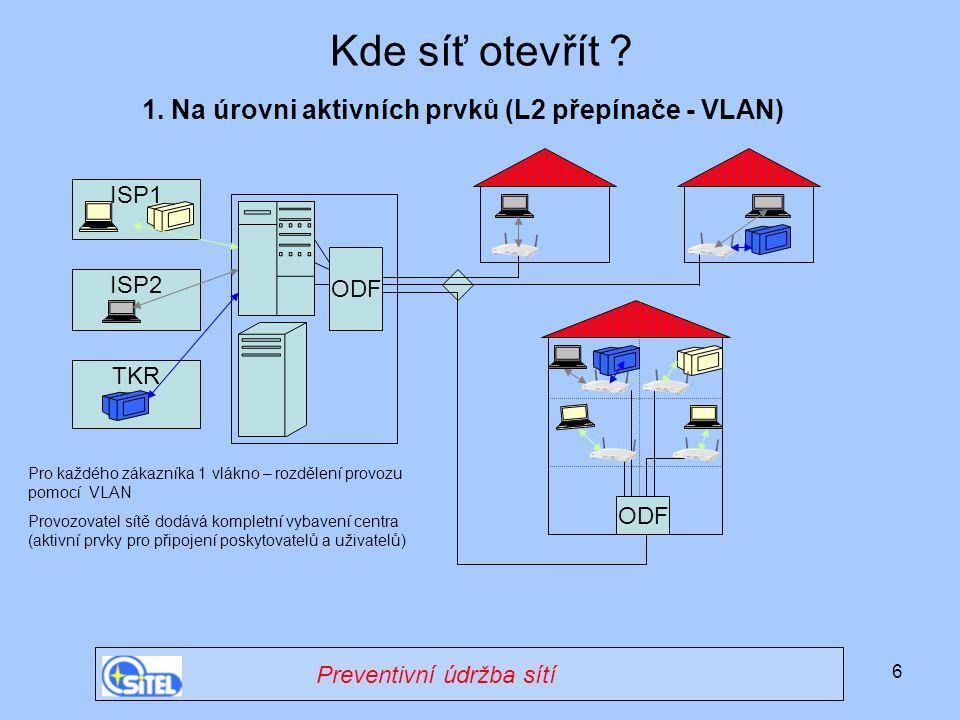 Kde síť otevřít 1. Na úrovni aktivních prvků (L2 přepínače - VLAN)