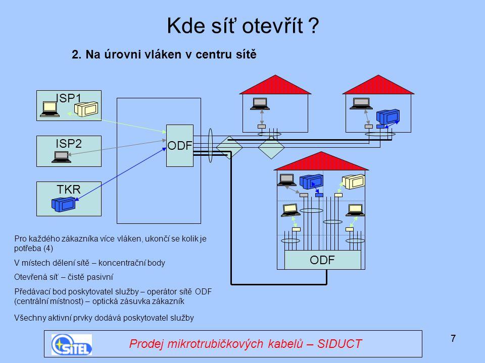 Kde síť otevřít 2. Na úrovni vláken v centru sítě ISP1 ODF ISP2 TKR