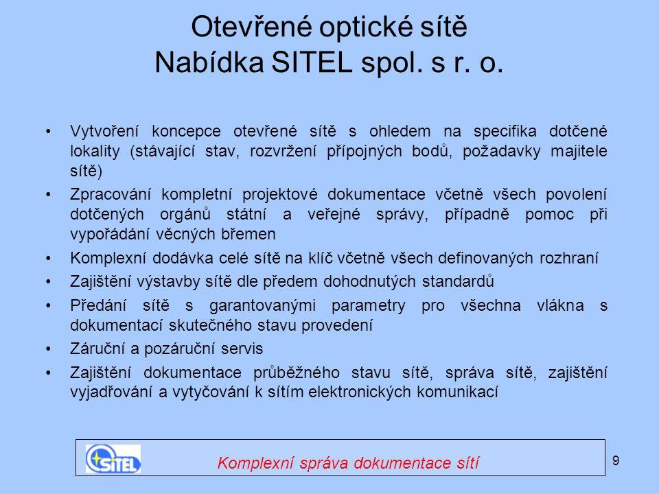 Otevřené optické sítě Nabídka SITEL spol. s r. o.