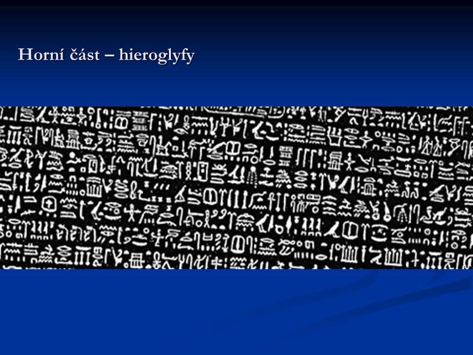 Horní část – hieroglyfy