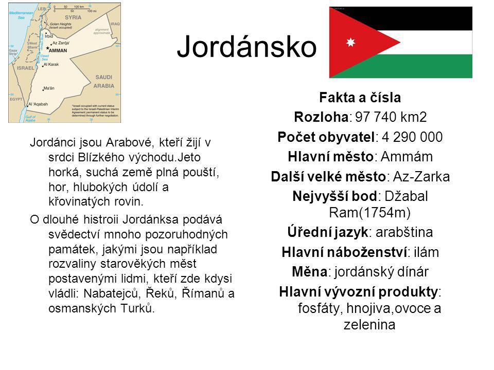 Jordánsko Fakta a čísla Rozloha: 97 740 km2 Počet obyvatel: 4 290 000