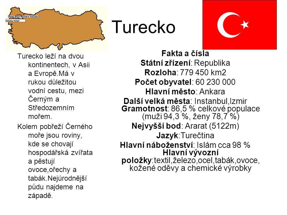 Turecko Fakta a čísla Státní zřízení: Republika Rozloha: 779 450 km2