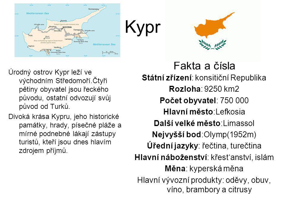 Kypr Fakta a čísla Státní zřízení: konsitiční Republika