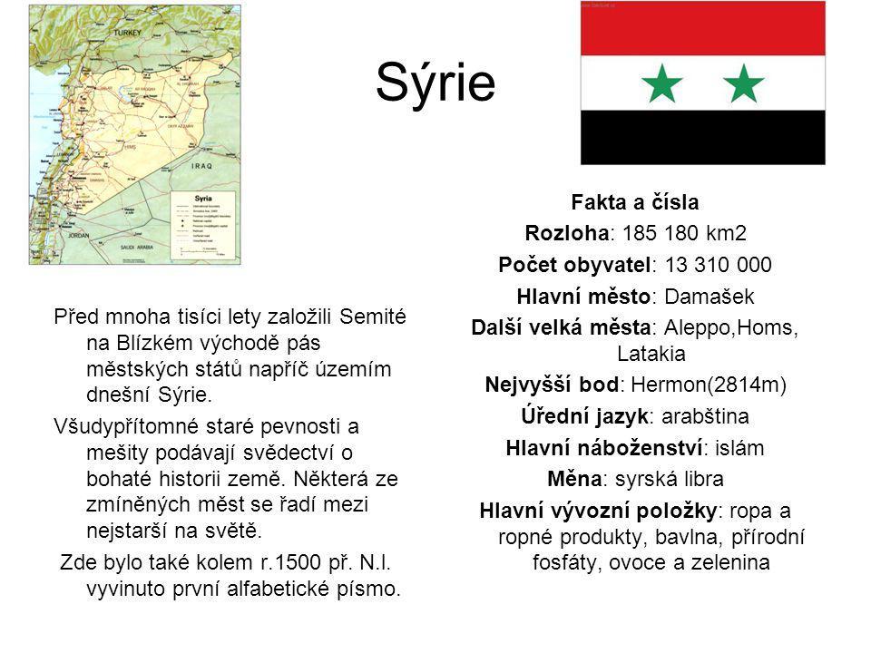 Sýrie Fakta a čísla Rozloha: 185 180 km2 Počet obyvatel: 13 310 000