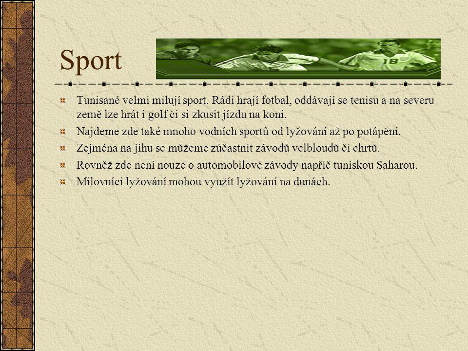 Sport Tunisané velmi milují sport. Rádi hrají fotbal, oddávají se tenisu a na severu země lze hrát i golf či si zkusit jízdu na koni.