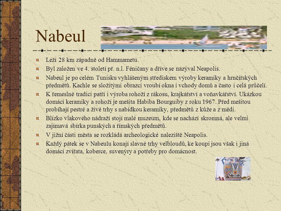 Nabeul Leží 28 km západně od Hammametu.