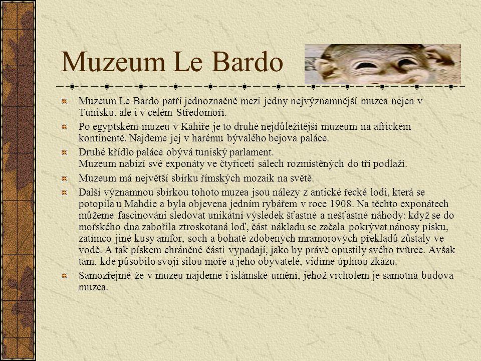 Muzeum Le Bardo Muzeum Le Bardo patří jednoznačně mezi jedny nejvýznamnější muzea nejen v Tunisku, ale i v celém Středomoří.