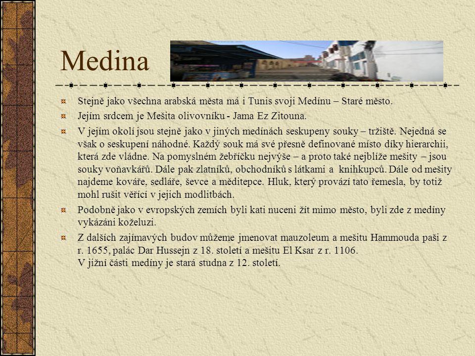 Medina Stejně jako všechna arabská města má i Tunis svoji Medínu – Staré město. Jejím srdcem je Mešita olivovníku - Jama Ez Zitouna.