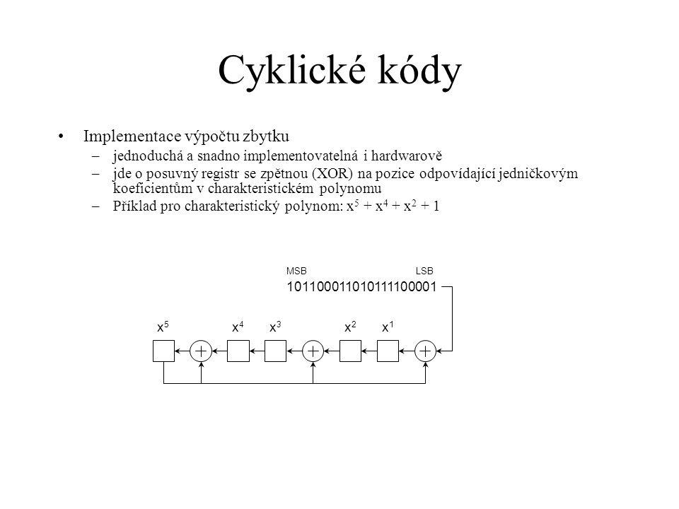 Cyklické kódy Implementace výpočtu zbytku