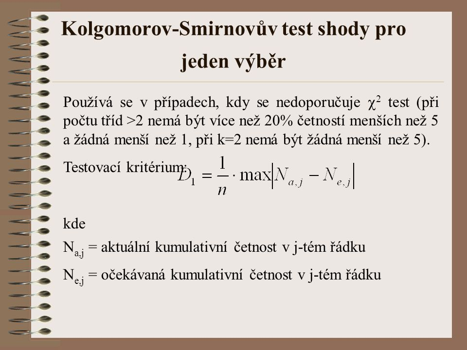 Kolgomorov-Smirnovův test shody pro jeden výběr