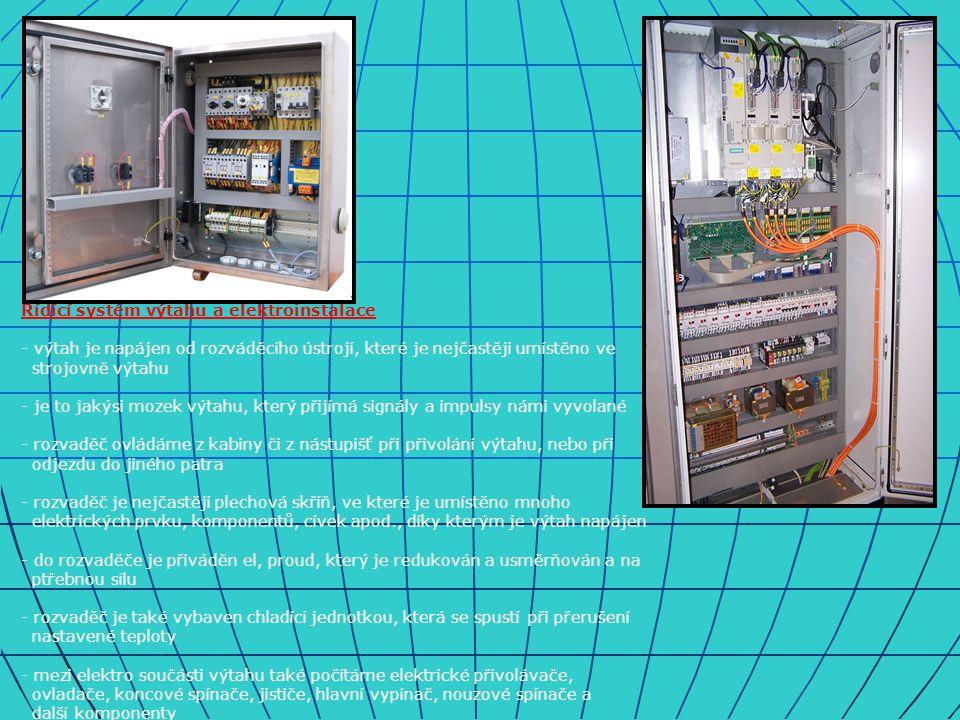 Řídící systém výtahu a elektroinstalace