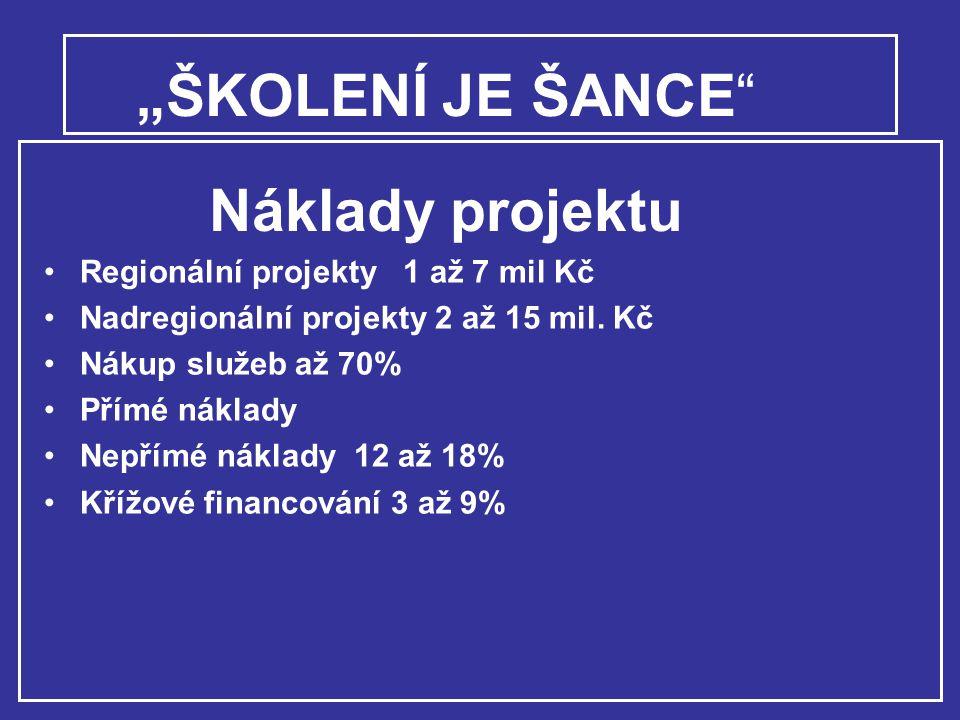 """""""ŠKOLENÍ JE ŠANCE Náklady projektu"""
